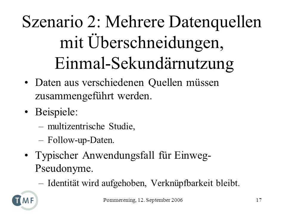 Pommerening, 12. September 200617 Szenario 2: Mehrere Datenquellen mit Überschneidungen, Einmal-Sekundärnutzung Daten aus verschiedenen Quellen müssen