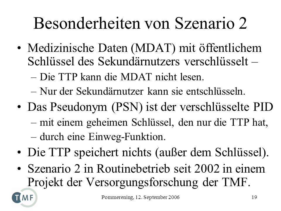 Pommerening, 12. September 200619 Besonderheiten von Szenario 2 Medizinische Daten (MDAT) mit öffentlichem Schlüssel des Sekundärnutzers verschlüsselt