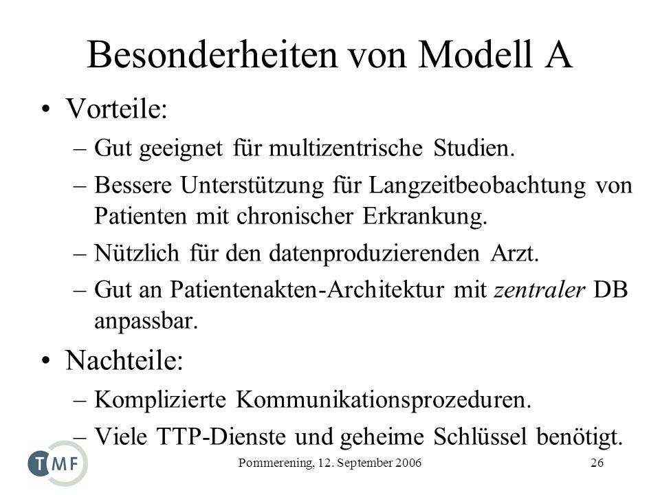Pommerening, 12. September 200626 Besonderheiten von Modell A Vorteile: –Gut geeignet für multizentrische Studien. –Bessere Unterstützung für Langzeit