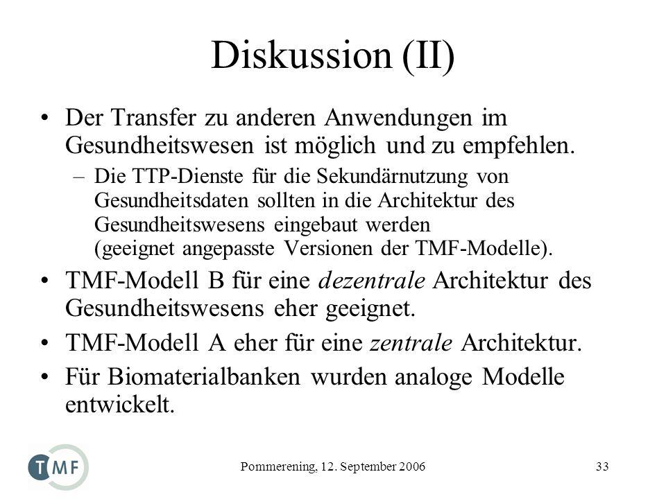 Pommerening, 12. September 200633 Diskussion (II) Der Transfer zu anderen Anwendungen im Gesundheitswesen ist möglich und zu empfehlen. –Die TTP-Diens