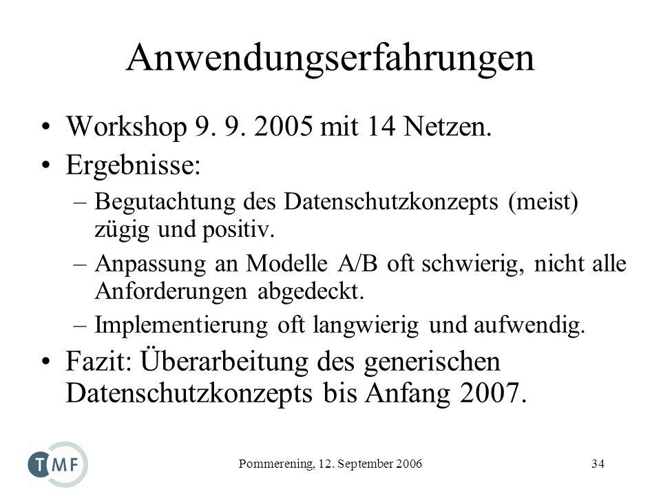 Pommerening, 12. September 200634 Anwendungserfahrungen Workshop 9. 9. 2005 mit 14 Netzen. Ergebnisse: –Begutachtung des Datenschutzkonzepts (meist) z