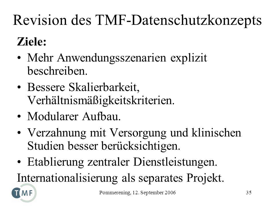 Pommerening, 12. September 200635 Revision des TMF-Datenschutzkonzepts Ziele: Mehr Anwendungsszenarien explizit beschreiben. Bessere Skalierbarkeit, V