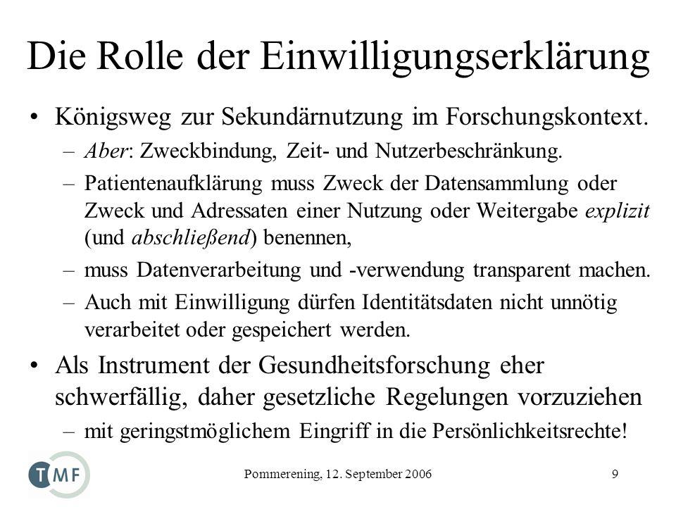 Pommerening, 12. September 20069 Die Rolle der Einwilligungserklärung Königsweg zur Sekundärnutzung im Forschungskontext. –Aber: Zweckbindung, Zeit- u
