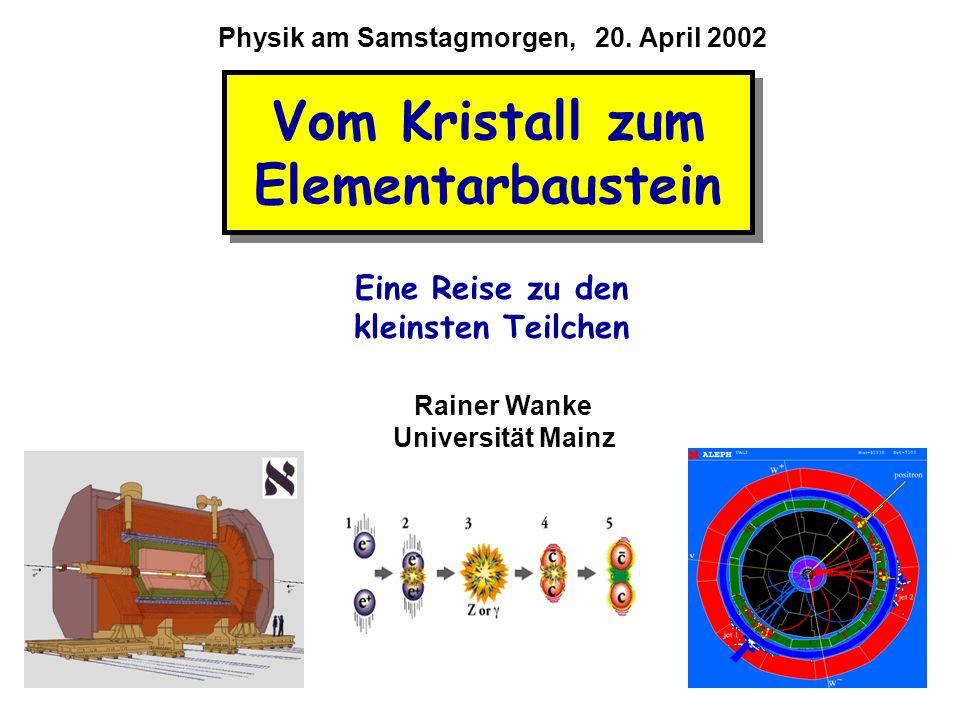Vom Kristall zum Elementarbaustein Rainer Wanke Universität Mainz Eine Reise zu den kleinsten Teilchen Physik am Samstagmorgen, 20. April 2002