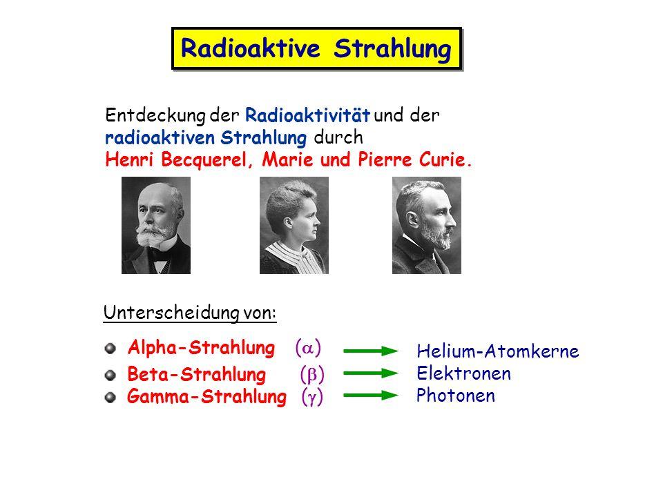 Radioaktive Strahlung Entdeckung der Radioaktivität und der radioaktiven Strahlung durch Henri Becquerel, Marie und Pierre Curie. Unterscheidung von: