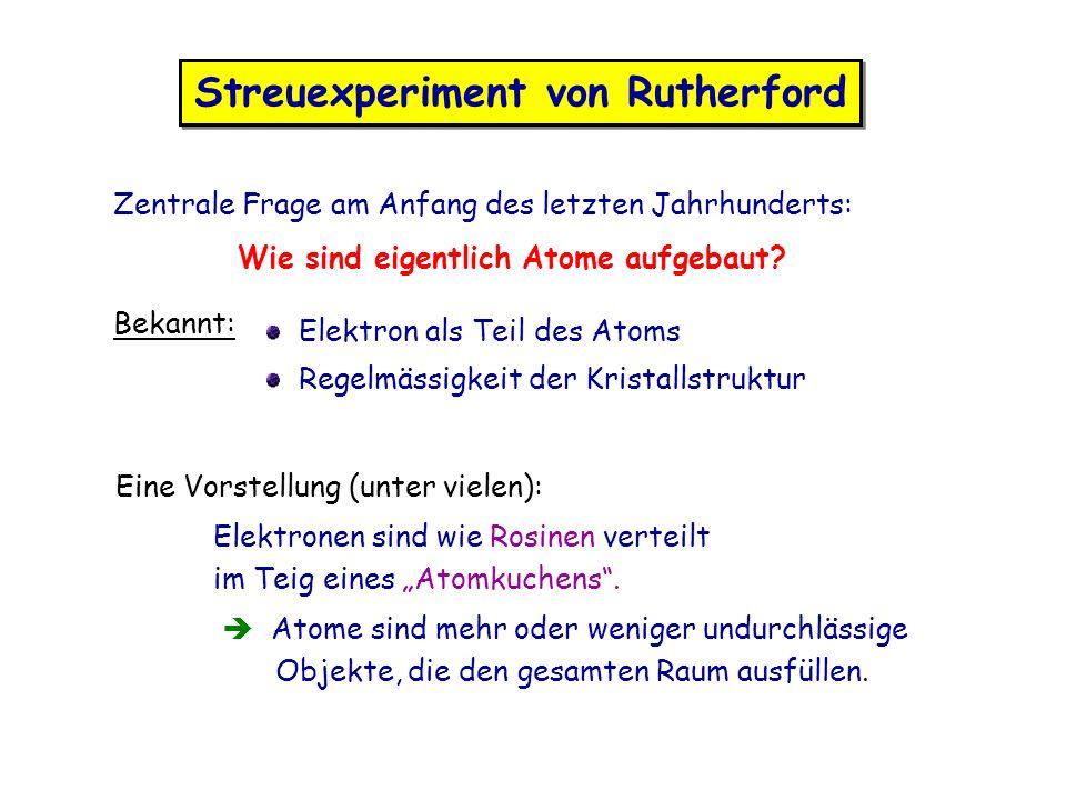 Streuexperiment von Rutherford Zentrale Frage am Anfang des letzten Jahrhunderts: Wie sind eigentlich Atome aufgebaut? Bekannt: Elektron als Teil des