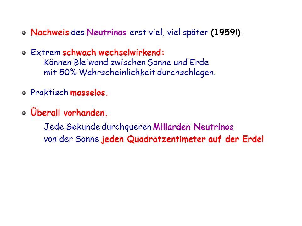 Nachweis des Neutrinos erst viel, viel später (1959!).