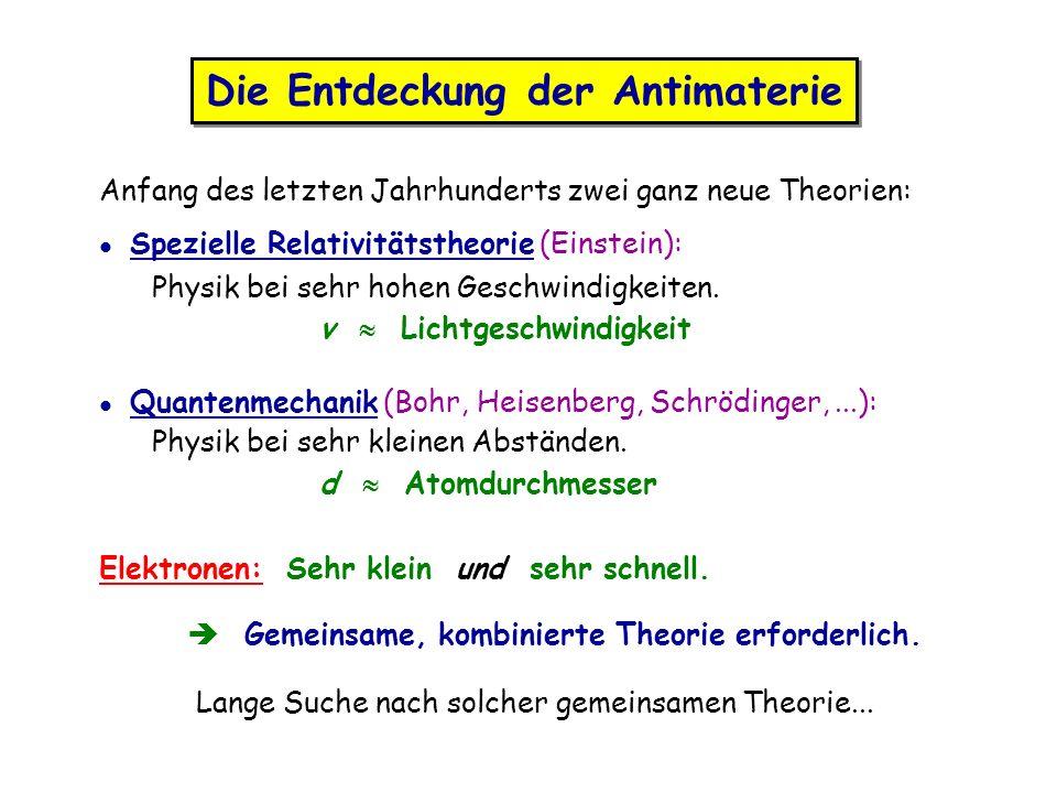 Anfang des letzten Jahrhunderts zwei ganz neue Theorien: l Spezielle Relativitätstheorie (Einstein): Physik bei sehr hohen Geschwindigkeiten. v Lichtg