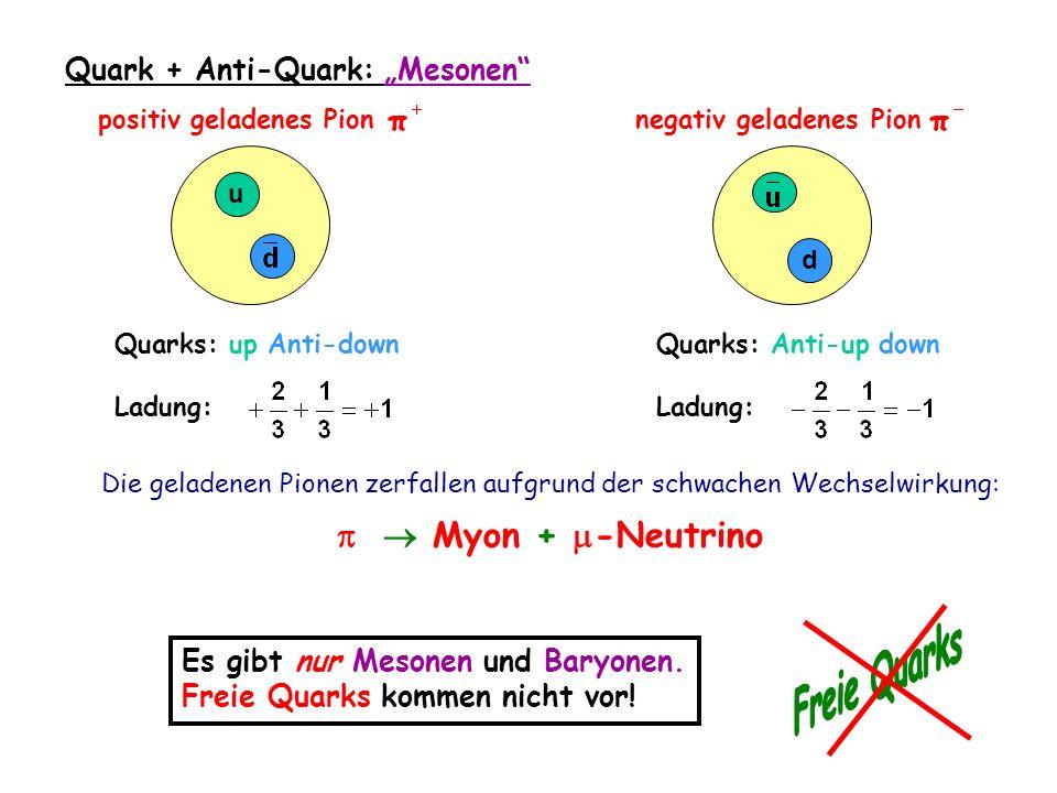u Quarks: up Anti-down Ladung: positiv geladenes Pion Quarks: Anti-up down Ladung: negativ geladenes Pion d Die geladenen Pionen zerfallen aufgrund der schwachen Wechselwirkung: Myon + -Neutrino Quark + Anti-Quark: Mesonen Es gibt nur Mesonen und Baryonen.