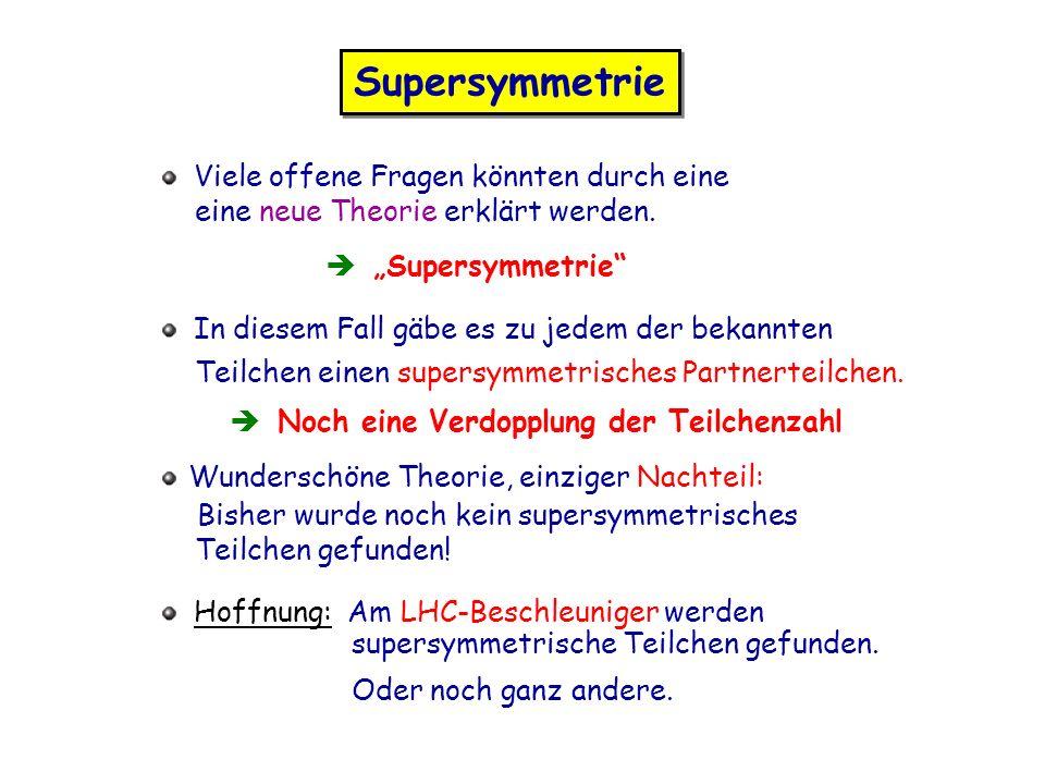 Supersymmetrie Viele offene Fragen könnten durch eine eine neue Theorie erklärt werden. Supersymmetrie In diesem Fall gäbe es zu jedem der bekannten T