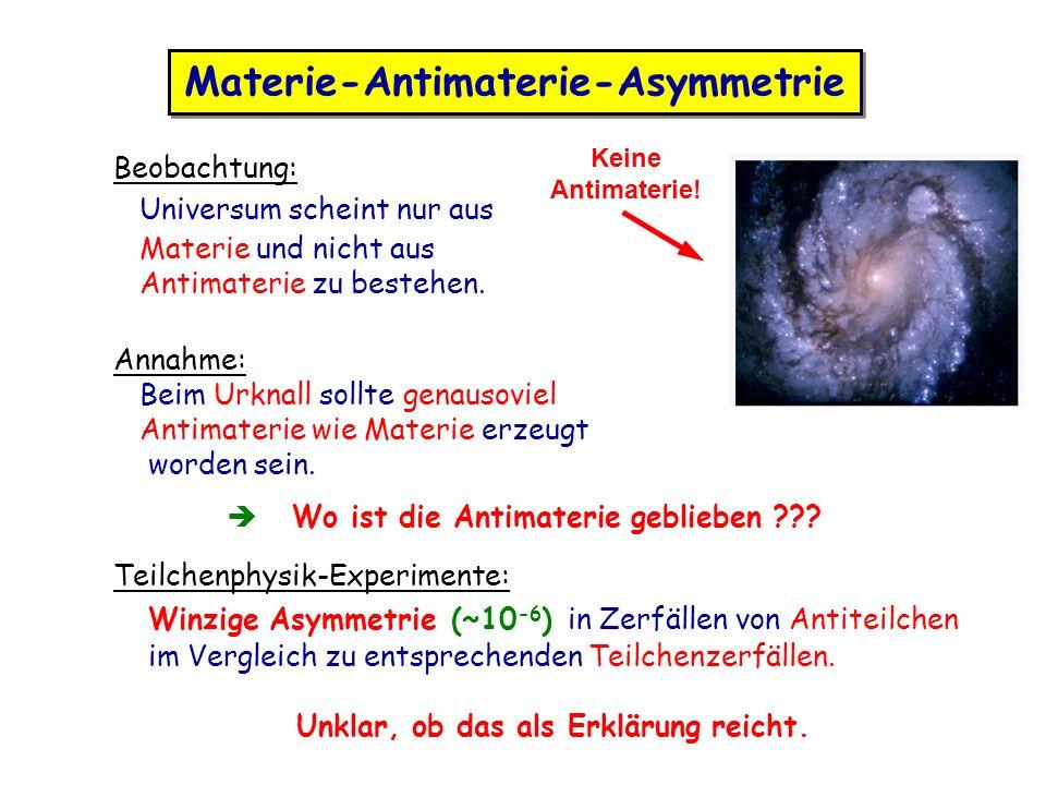 Materie-Antimaterie-Asymmetrie Beobachtung: Universum scheint nur aus Materie und nicht aus Antimaterie zu bestehen. Annahme: Beim Urknall sollte gena