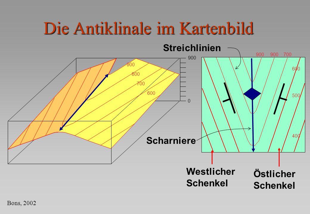 Die Antiklinale im Kartenbild 900 0 800 700 600 Streichlinien Scharniere 900 700 600 500 400 Westlicher Schenkel Östlicher Schenkel Bons, 2002