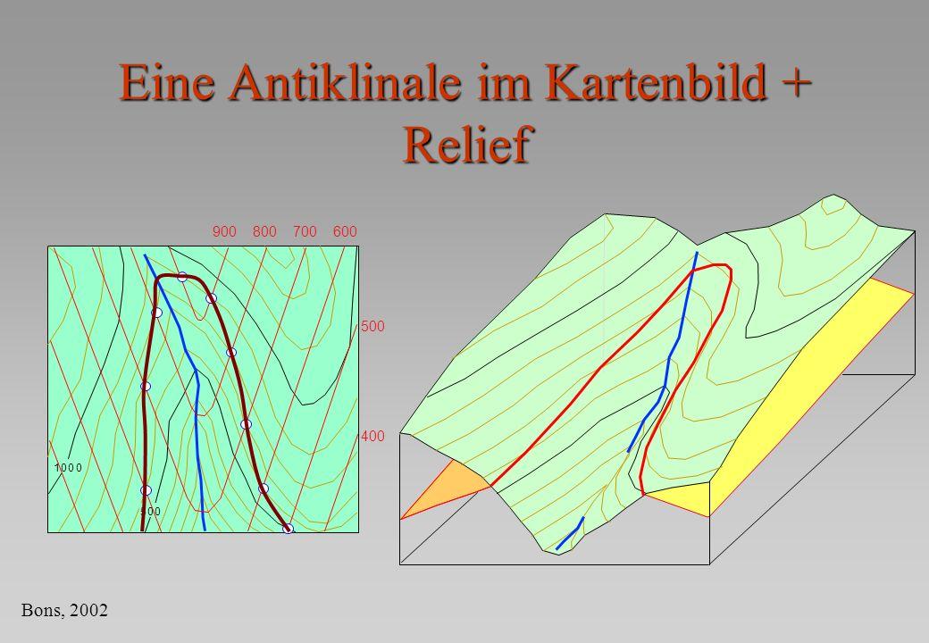 Eine Antiklinale im Kartenbild + Relief 1000 500 900800700600 500 400 Bons, 2002