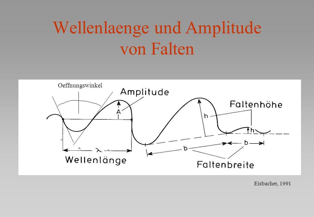 Wellenlaenge und Amplitude von Falten Eisbacher, 1991 Oeffnungswinkel