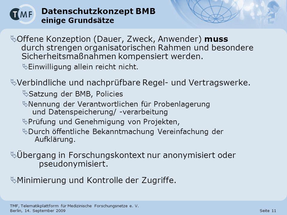 TMF, Telematikplattform für Medizinische Forschungsnetze e. V. Berlin, 14. September 2009 Seite 11 Datenschutzkonzept BMB einige Grundsätze Offene Kon
