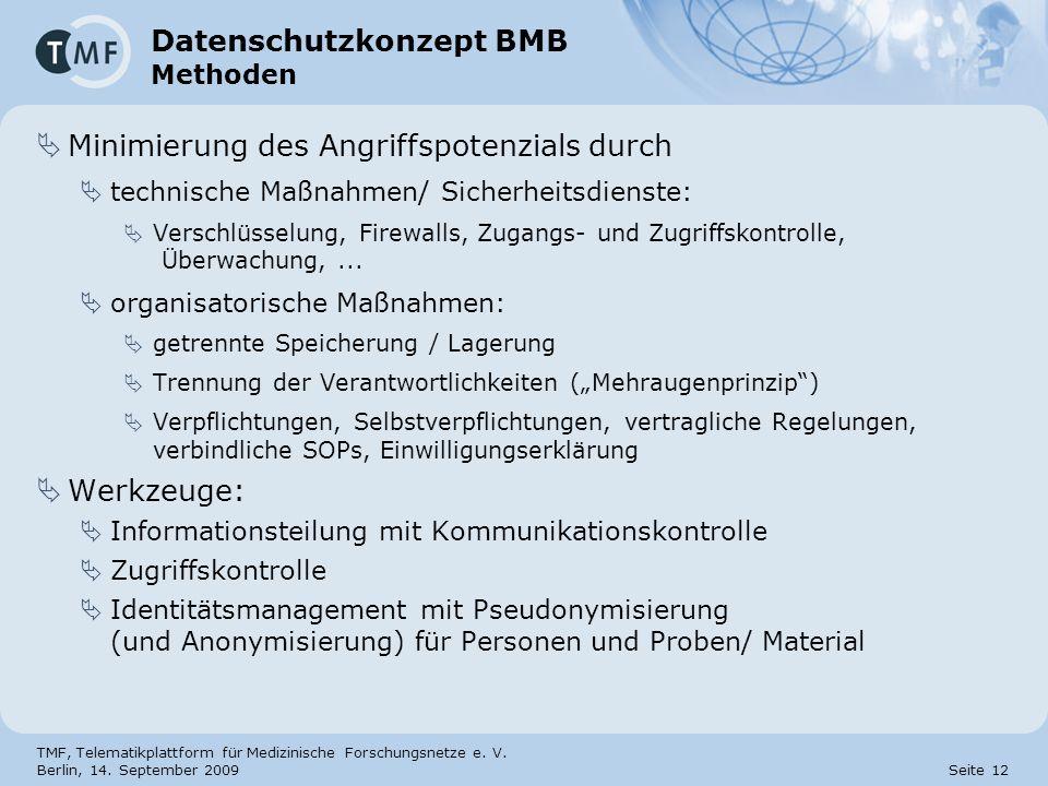 TMF, Telematikplattform für Medizinische Forschungsnetze e. V. Berlin, 14. September 2009 Seite 12 Datenschutzkonzept BMB Methoden Minimierung des Ang
