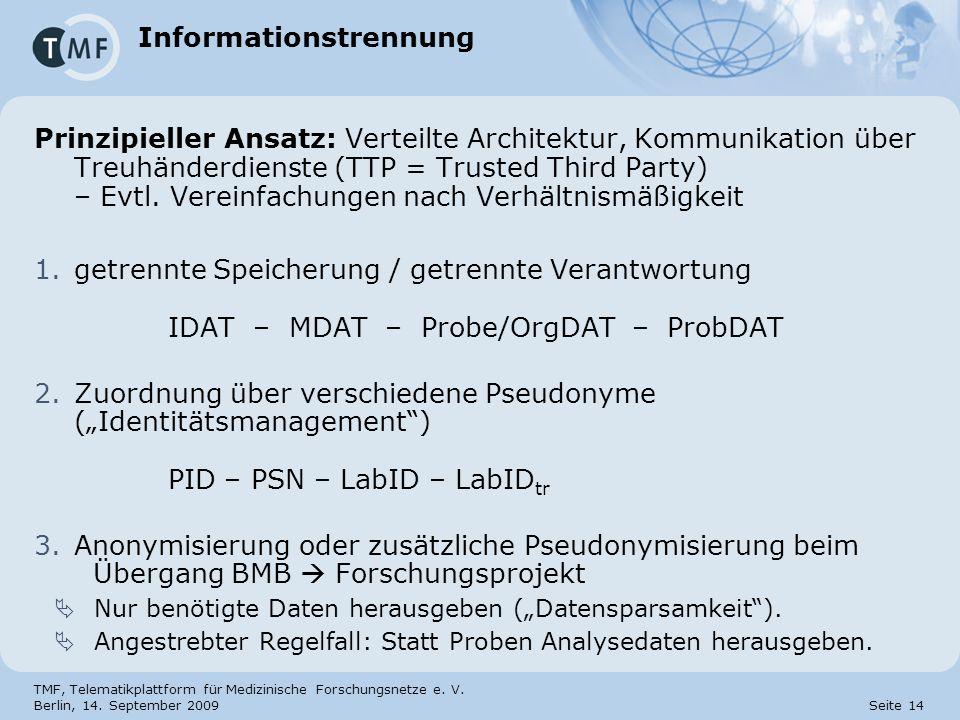 TMF, Telematikplattform für Medizinische Forschungsnetze e. V. Berlin, 14. September 2009 Seite 14 Prinzipieller Ansatz: Verteilte Architektur, Kommun