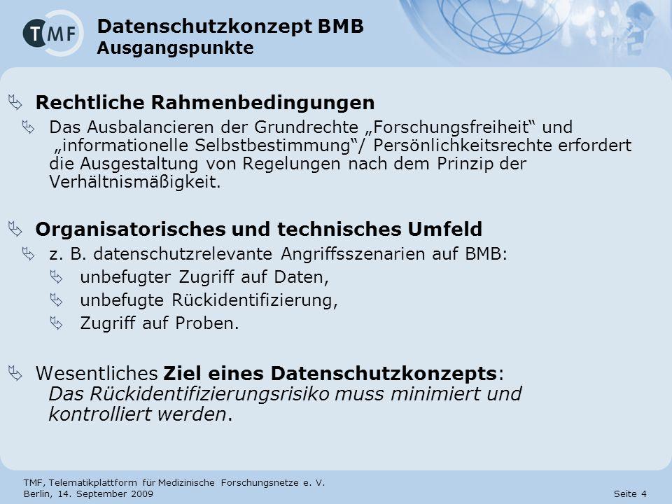 TMF, Telematikplattform für Medizinische Forschungsnetze e. V. Berlin, 14. September 2009 Seite 4 Datenschutzkonzept BMB Ausgangspunkte Rechtliche Rah