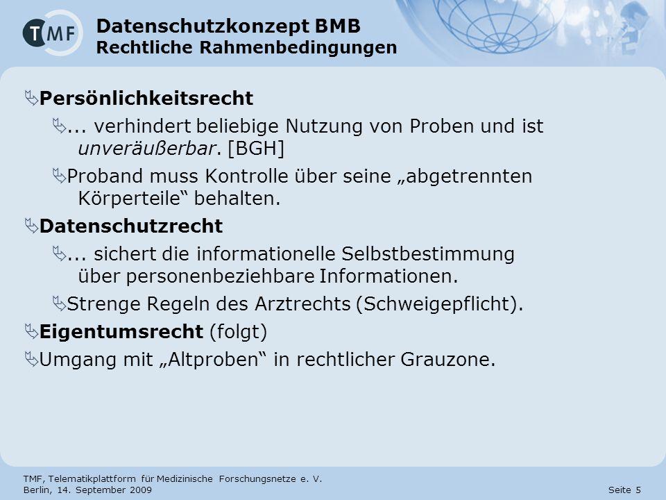 TMF, Telematikplattform für Medizinische Forschungsnetze e. V. Berlin, 14. September 2009 Seite 5 Datenschutzkonzept BMB Rechtliche Rahmenbedingungen