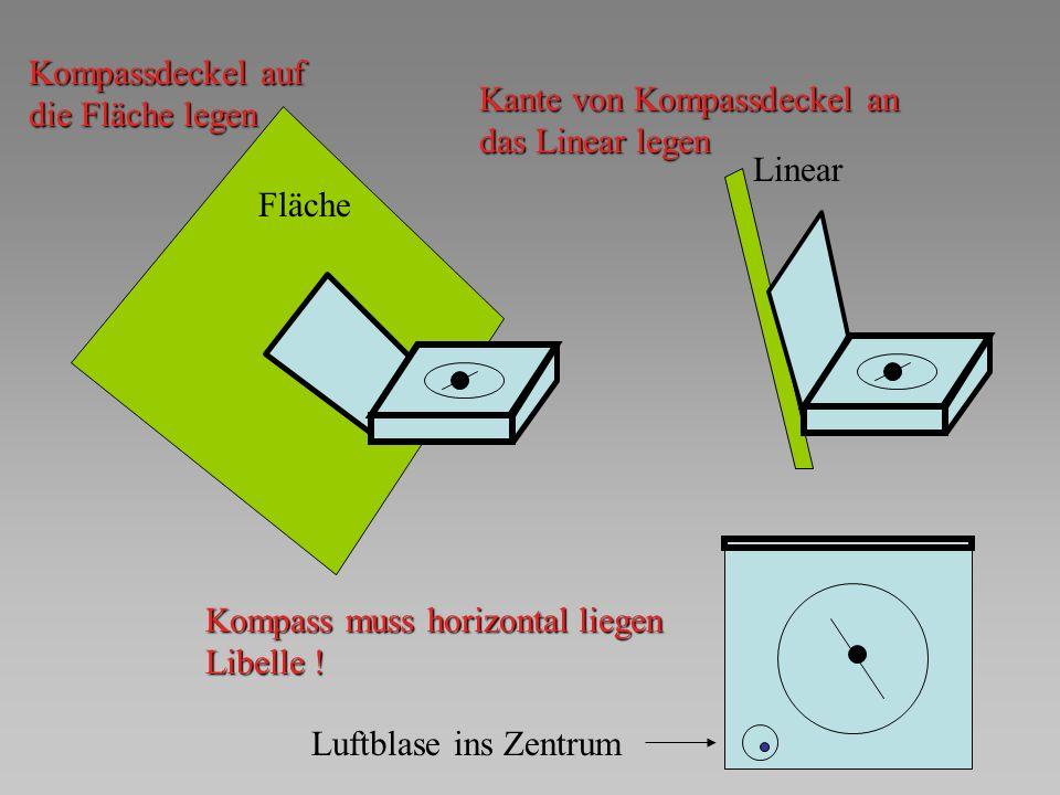 Fläche Kompass muss horizontal liegen Libelle ! Kompassdeckel auf die Fläche legen Linear Kante von Kompassdeckel an das Linear legen Luftblase ins Ze