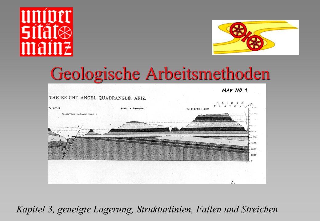 Geologische Arbeitsmethoden Kapitel 3, geneigte Lagerung, Strukturlinien, Fallen und Streichen