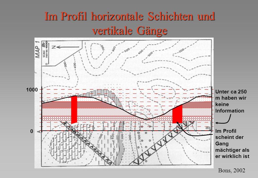 0 1000 Unter ca 250 m haben wir keine Information Im Profil scheint der Gang mächtiger als er wirklich ist Im Profil horizontale Schichten und vertika