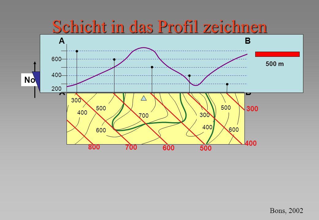 Nord Schicht in das Profil zeichnen 500 600 AB 300 400 500 600 700 400 300 500 600 200 500 m AB 300 200 400 700 800 AB 200 400 600 500 m Bons, 2002