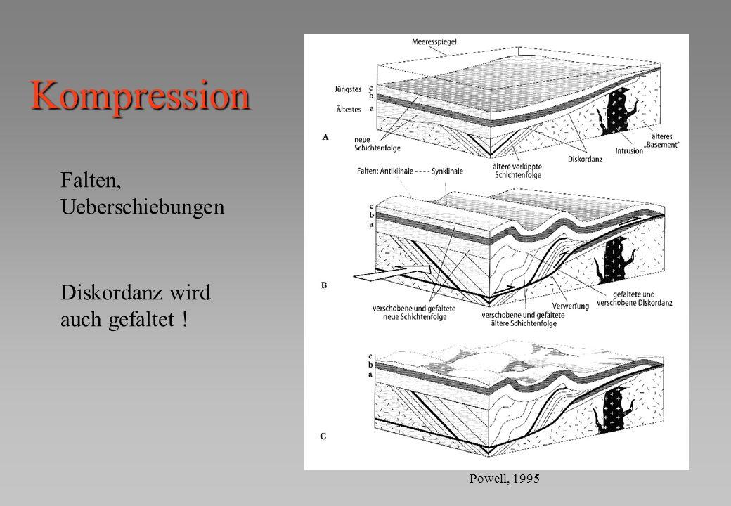 Kompression Falten, Ueberschiebungen Diskordanz wird auch gefaltet ! Powell, 1995