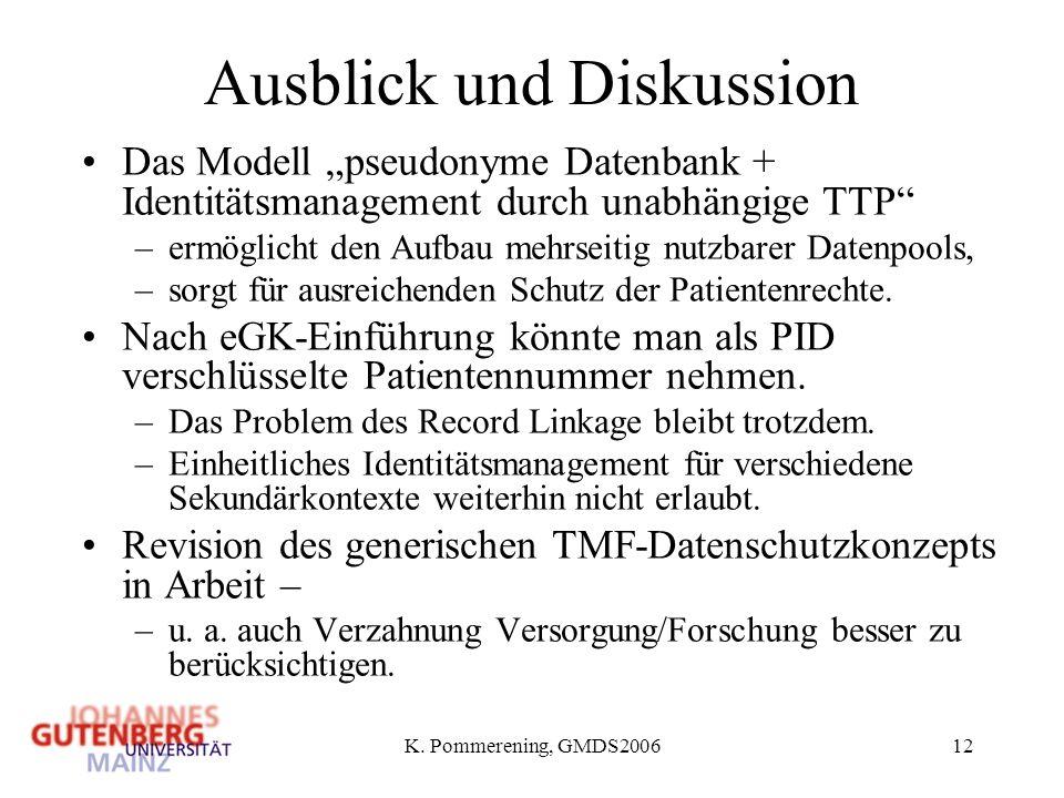 K. Pommerening, GMDS200612 Ausblick und Diskussion Das Modell pseudonyme Datenbank + Identitätsmanagement durch unabhängige TTP –ermöglicht den Aufbau
