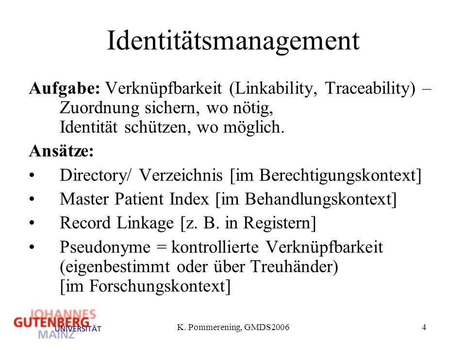 K. Pommerening, GMDS20064 Identitätsmanagement Aufgabe: Verknüpfbarkeit (Linkability, Traceability) – Zuordnung sichern, wo nötig, Identität schützen,