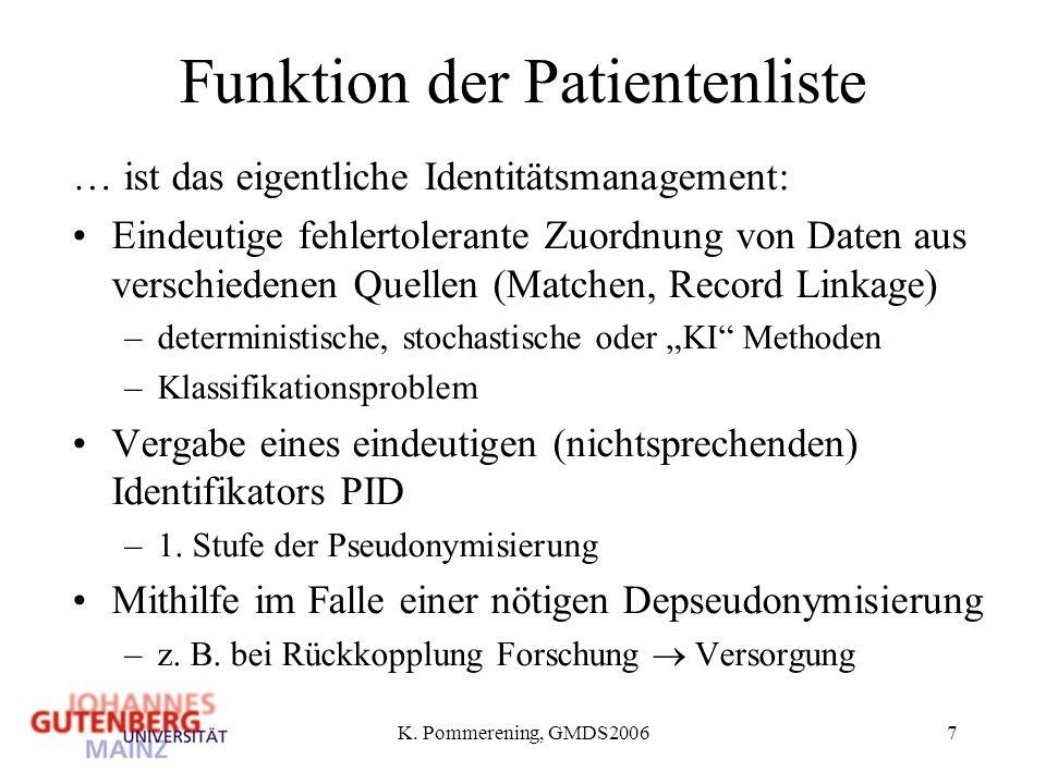 K. Pommerening, GMDS20067 Funktion der Patientenliste … ist das eigentliche Identitätsmanagement: Eindeutige fehlertolerante Zuordnung von Daten aus v