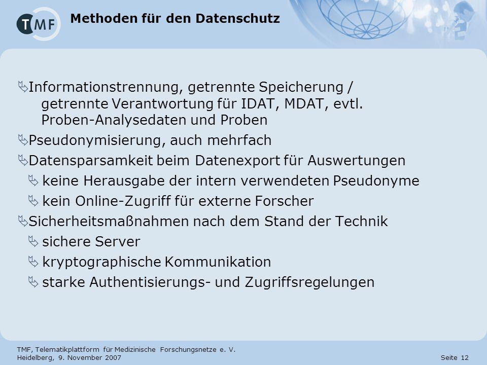 TMF, Telematikplattform für Medizinische Forschungsnetze e. V. Heidelberg, 9. November 2007 Seite 12 Methoden für den Datenschutz Informationstrennung