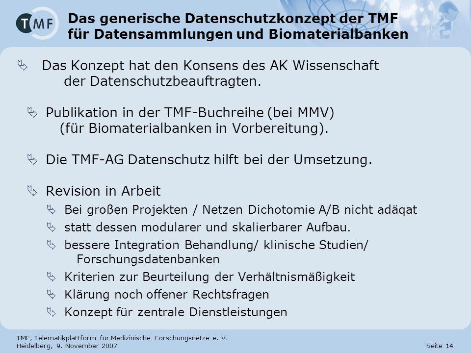 TMF, Telematikplattform für Medizinische Forschungsnetze e. V. Heidelberg, 9. November 2007 Seite 14 Das generische Datenschutzkonzept der TMF für Dat