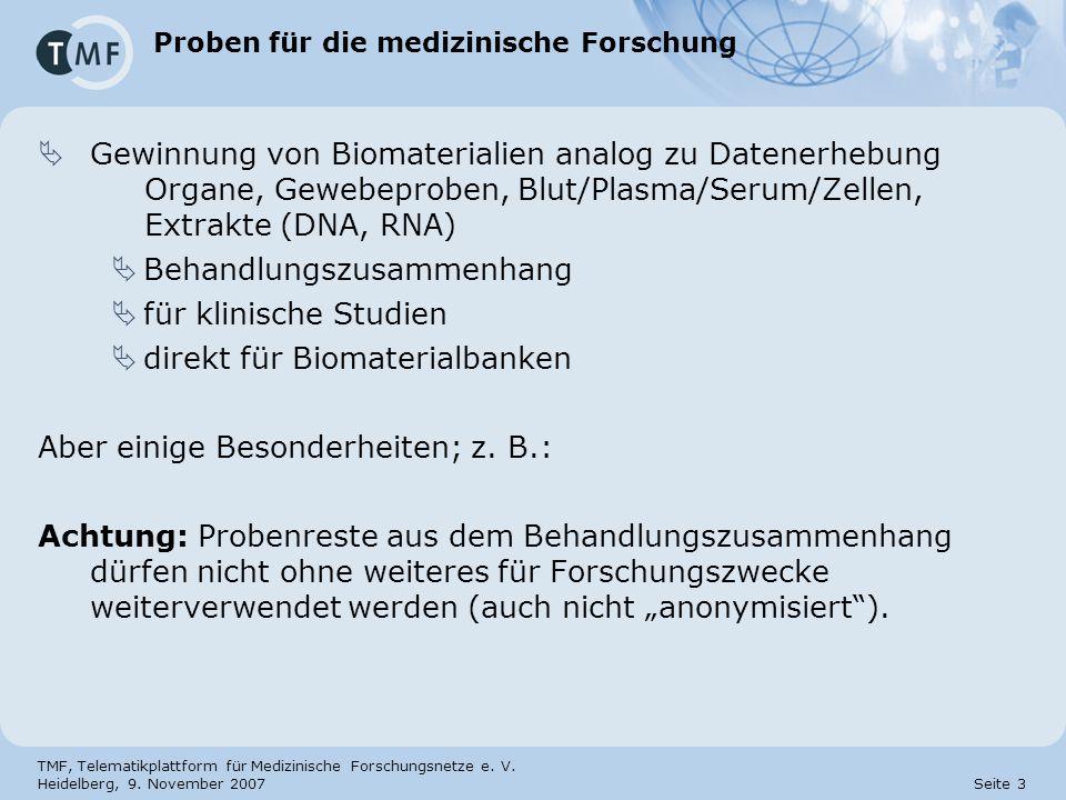 TMF, Telematikplattform für Medizinische Forschungsnetze e. V. Heidelberg, 9. November 2007 Seite 3 Proben für die medizinische Forschung Gewinnung vo