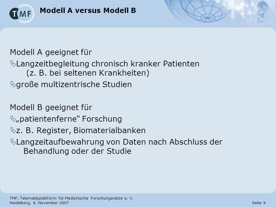 TMF, Telematikplattform für Medizinische Forschungsnetze e. V. Heidelberg, 9. November 2007 Seite 9 Modell A versus Modell B Modell A geeignet für Lan
