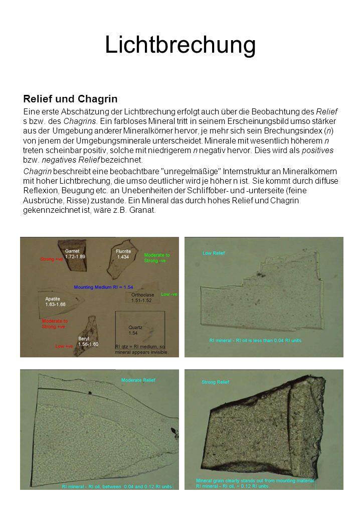 Lichtbrechung Relief und Chagrin Eine erste Abschätzung der Lichtbrechung erfolgt auch über die Beobachtung des Relief s bzw.