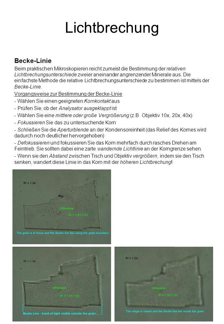 Lichtbrechung Becke-Linie Beim praktischen Mikroskopieren reicht zumeist die Bestimmung der relativen Lichtbrechungsunterschiede zweier aneinander angrenzender Minerale aus.