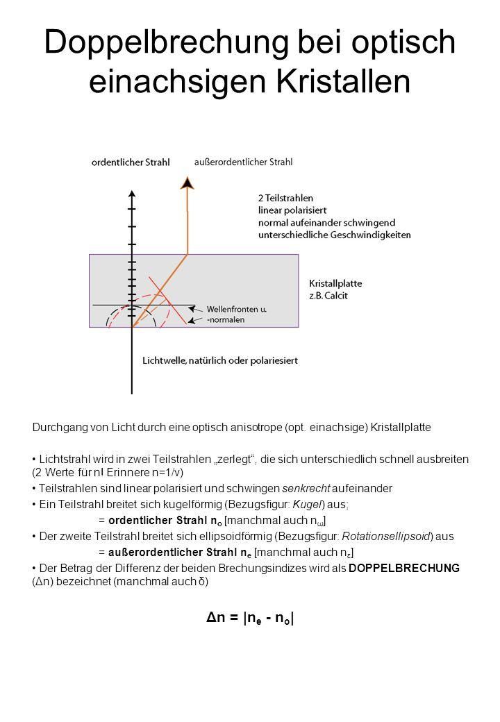 Doppelbrechung bei optisch einachsigen Kristallen Durchgang von Licht durch eine optisch anisotrope (opt.