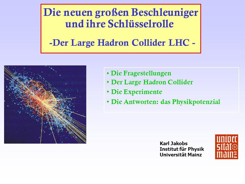 Die neuen großen Beschleuniger und ihre Schlüsselrolle -Der Large Hadron Collider LHC - Die Fragestellungen Der Large Hadron Collider Die Experimente