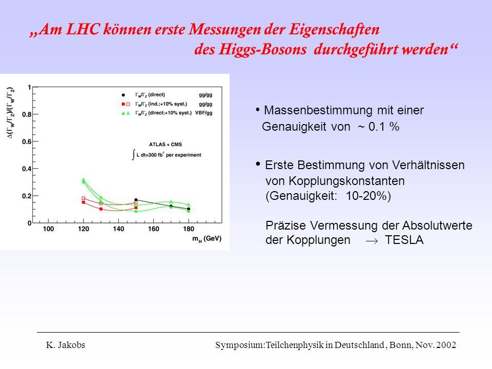 K. Jakobs Symposium:Teilchenphysik in Deutschland, Bonn, Nov. 2002 Am LHC können erste Messungen der Eigenschaften des Higgs-Bosons durchgeführt werde