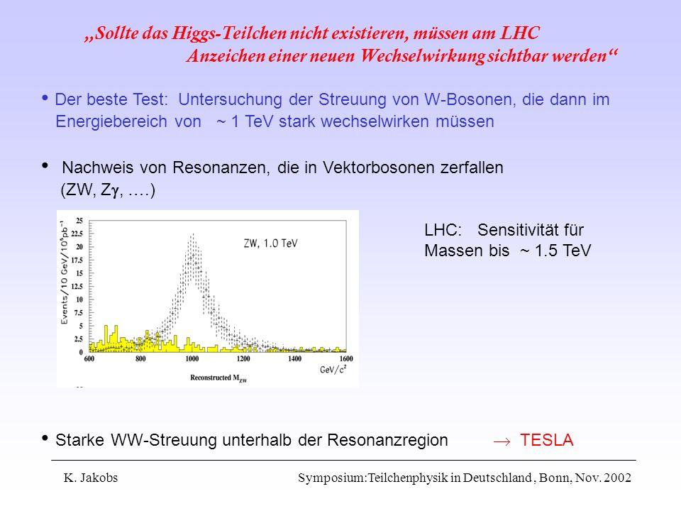 K. Jakobs Symposium:Teilchenphysik in Deutschland, Bonn, Nov. 2002 Sollte das Higgs-Teilchen nicht existieren, müssen am LHC Anzeichen einer neuen Wec