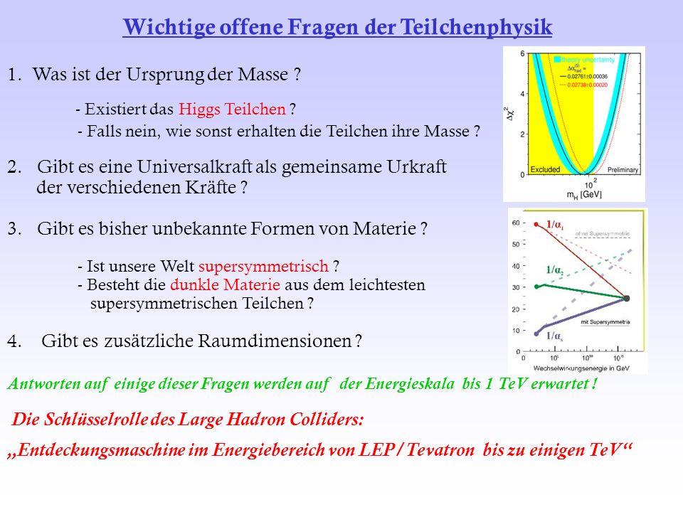 1. Was ist der Ursprung der Masse ? - Existiert das Higgs Teilchen ? - Falls nein, wie sonst erhalten die Teilchen ihre Masse ? 2. Gibt es eine Univer