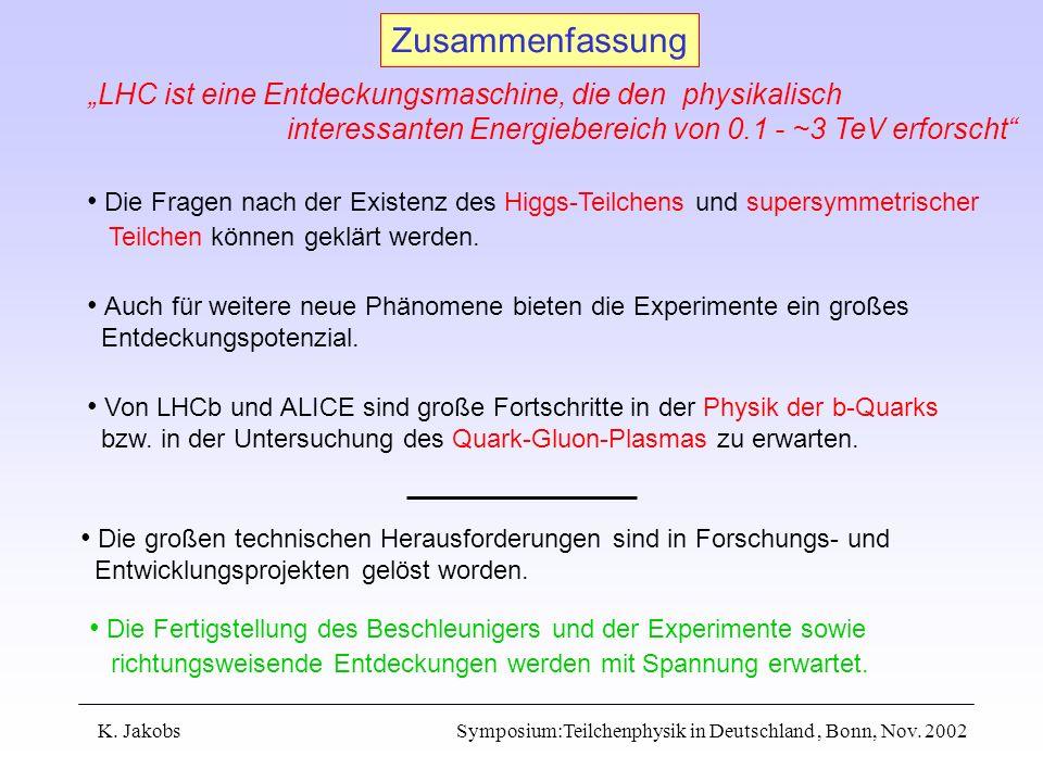 K. Jakobs Symposium:Teilchenphysik in Deutschland, Bonn, Nov. 2002 Zusammenfassung LHC ist eine Entdeckungsmaschine, die den physikalisch interessante