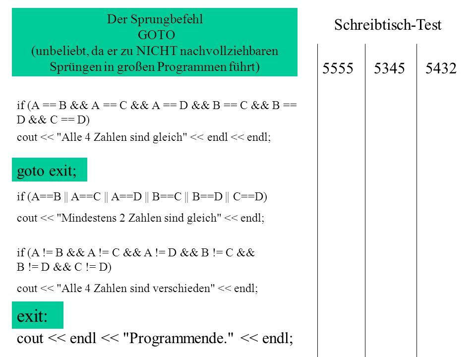summe=0; durchschnitt=0; do { for (zaehler=1; zaehler<=zahl;zaehler++) { summe=summe+zaehler; } durchschnitt=summe/zahl; } while (zahl>0); SUMME=SUMME + ZAEHLER Vorteil: Zaehler hochzählen über Variable++ in FOR-Schleife for (variable=Anfangswert; Variable < = Endwert; Variable++) Die Zählerschleife in C++ verbirgt ungeahnte Möglichkeiten