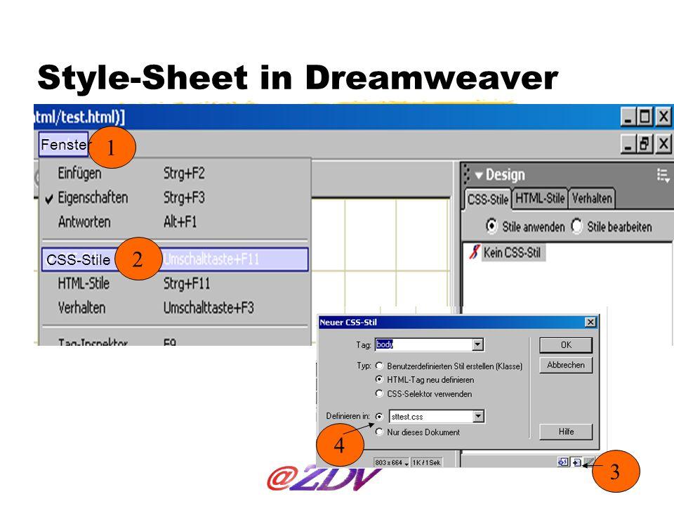 Style-Sheet in Dreamweaver 1 2 3 4 Fenster CSS-Stile