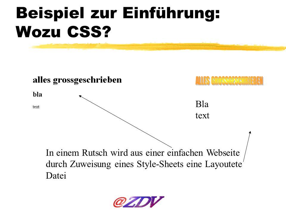 Beispiel zur Einführung: Wozu CSS? In einem Rutsch wird aus einer einfachen Webseite durch Zuweisung eines Style-Sheets eine Layoutete Datei Bla text