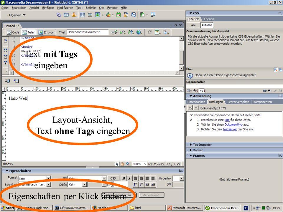 16. Januar 201412 Layout-Ansicht, Text ohne Tags eingeben Text mit Tags eingeben Eigenschaften per Klick ändern