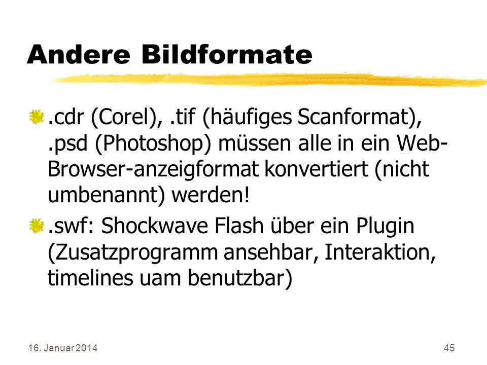 16. Januar 201445 Andere Bildformate.cdr (Corel),.tif (häufiges Scanformat),.psd (Photoshop) müssen alle in ein Web- Browser-anzeigformat konvertiert
