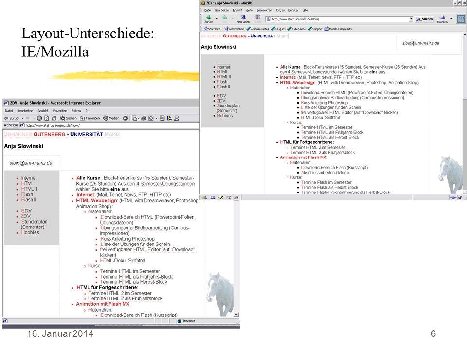 16. Januar 20147 Layout mit Text-WWW- Browser Start – Programme – TeraTermPro – Host: alpha4