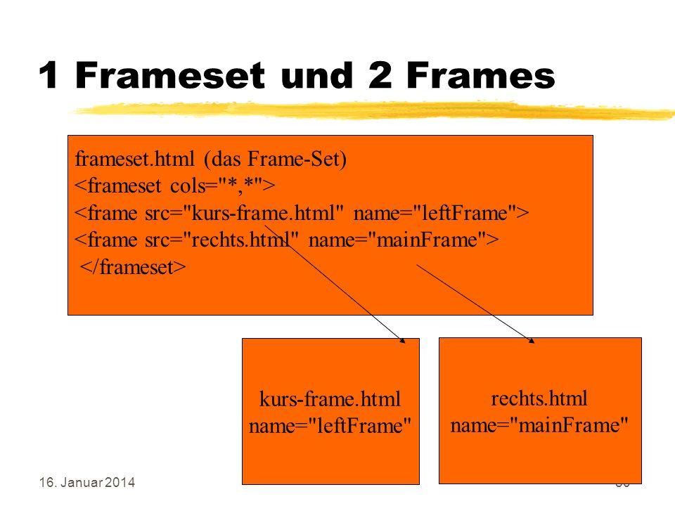 16. Januar 201480 1 Frameset und 2 Frames rechts.html name=